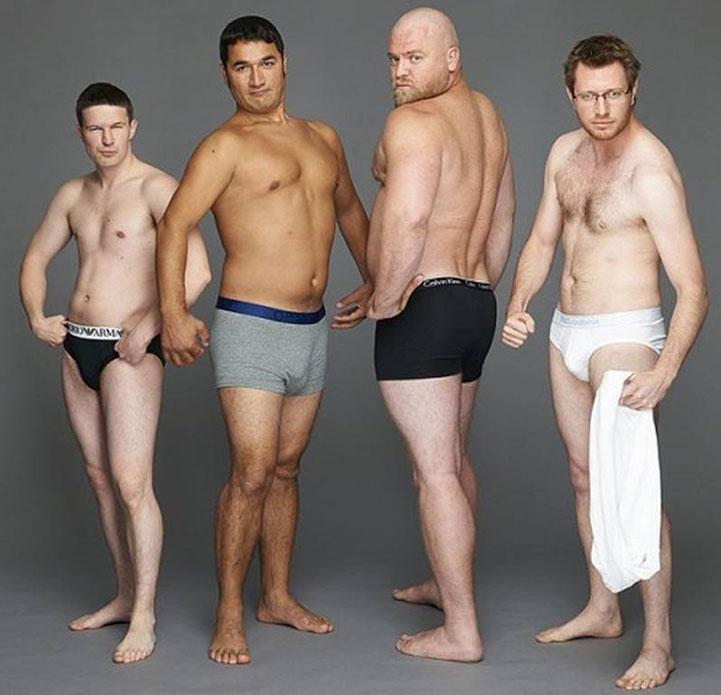 Žiadne tehličky! Pozrite si, ako by priemerní muži vyzerali v reklame na spodné prádlo