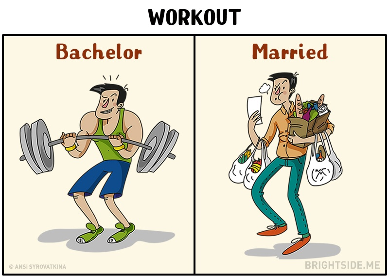 Manželstvo zmení život každému mužovi. Zábavné ilustrácie ti ukážu ako!